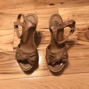 Candie's tan cork wedges, 7